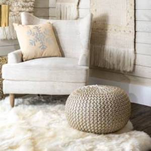 """Rugs USA Gold Knitted Round Pouf furniture - Contemporary Round 14"""" H x 20"""" W x 20"""" D"""
