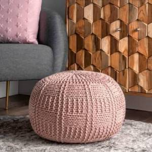 Rugs USA Blush Poufs Knitted Cotton Basketweave Pouf furniture - Casuals 14