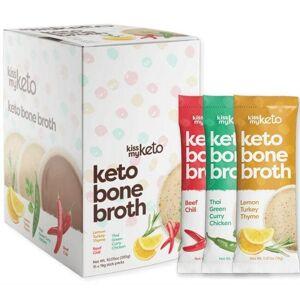 Kiss My Keto Bone Broth - Variety Pack 15 Packets Digestive Health and Fiber