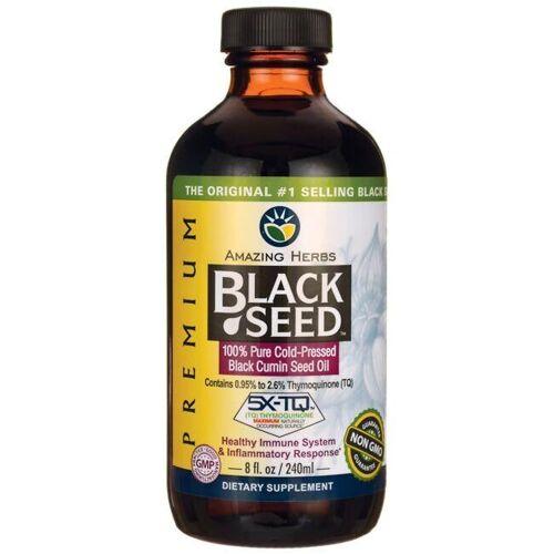 Amazing Herbs Black Seed 100% Pure Cold-Pressed Cumin Oil 8 fl oz Liquid Immune Support
