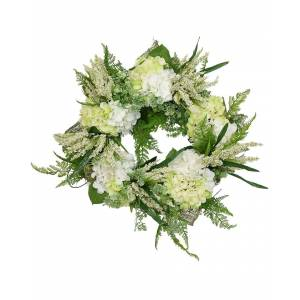 Creative Labs Displays 30in White Hydrangea and Green Heather Wreath