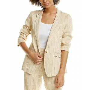 Forte Forte Pinstriped Linen-Blend Jacket - Brown - Size: 4