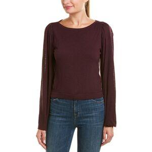 Three Dots Wool-Blend Crop Top - Purple - Size: l