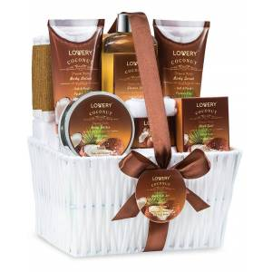 Lovery Home Spa Gift Basket - Milky Coconut Scent - Luxurious 9pc Bath & Body Set