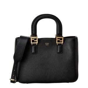 FENDI FF Small Leather Tote - Black