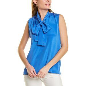 St. John Stretch Silk-Blend Top - Blue - Size: p