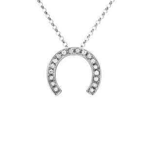 Heritage Celine CELINE 18K White Gold 0.20 ct. tw. Diamond Horseshoe Necklace
