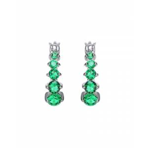Genevive Silver CZ Graduated Hoops