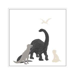 "Jonathan Bass Studio Dinosaur Dreaming, Decorative Framed Hand Embellished Canvas - Size: 11"" x 9"""