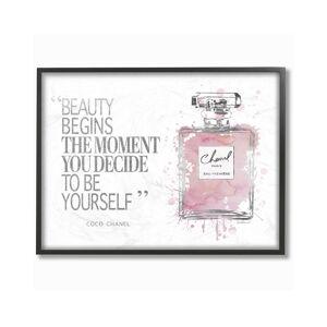 "Stupell Beauty Begins Fashion Perfume by Amanda Greenwood Framed Art - Size: 11"" x 2"" x 14"""