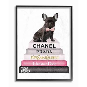 "Stupell Book Stack Fashion French Bulldog by Amanda Greenwood Framed Art - Size: 11"" x 2"" x 14"""