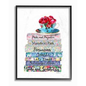 """Stupell Floral Book Stack Tea Cup by Amanda Greenwood Framed Art - Size: 11"""" x 2"""" x 14"""""""