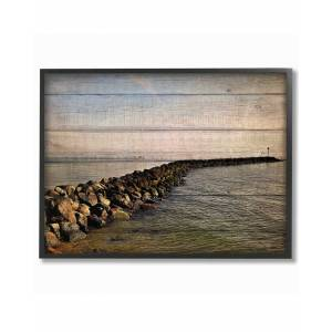 "Stupell Rock Path Ocean Plank Photography by Kimberly Allen Framed Art - Size: 11"" x 2"" x 14"""