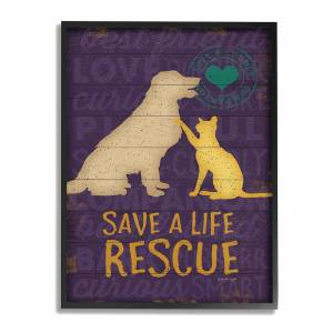 """Stupell Save A Life Rescue Dog And Cat Silhouette by Jennifer Pugh Framed Art - Size: 11"""" x 2"""" x 14"""""""