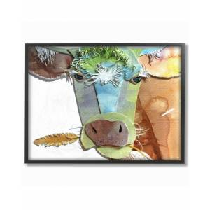 """Stupell Watercolor Cutout Collage Cow by Marley Ungaro Framed Art - Size: 11"""" x 2"""" x 14"""""""