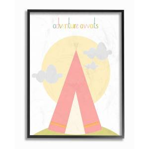 "Stupell Adventure Awaits Tee Pee In Pink by Karen Zukowski (Finny And Zook) Framed Art - Size: 11"" x 2"" x 14"""