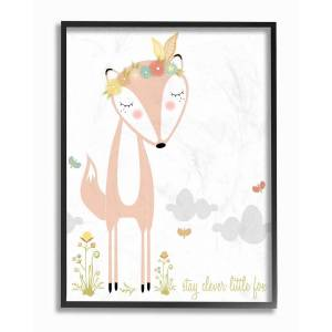 """Stupell Peach Floral And Feathered Stay Clever Little Fox by Karen Zukowski (Finny And Zook) Framed Art - Size: 11"""" x 2"""" x 14"""""""