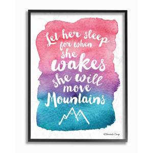 """Stupell Watercolor Let Her Sleep Pink Typography by Shawanda Craig Framed Art - Size: 11"""" x 2"""" x 14"""""""