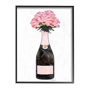 """Stupell Champagne Bottle Pink Flowers Watercolor by Amanda Greenwood Framed Art - Size: 11"""" x 2"""" x 14"""""""