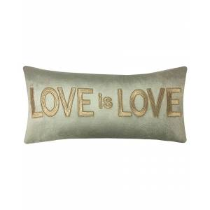 """Edie@Home Celebrations Gold Embroidered """"Love Is Love"""" Decorative Pillow - Multi - Size: 12"""" x 24"""" x 6"""""""