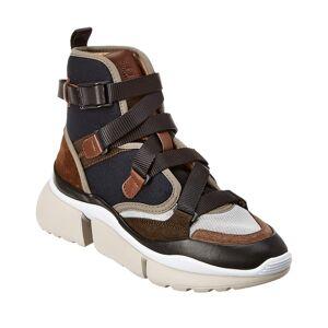 Chloe Sonnie Suede & Mesh High-Top Sneaker - Brown - Size: 35