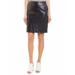 Theory Clean Leather Pencil Skirt - Navy - Size: 4