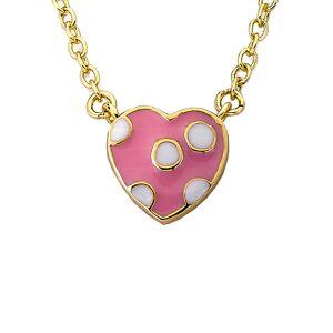 """Little Miss Twin Stars 14K Plated Enamel Heart Necklace - Size: 14"""" + 2"""""""