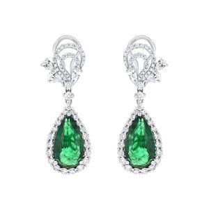 Diana M. Fine Jewelry 18K 11.01 ct. tw. Diamond & Emerald Drop Earrings