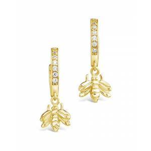 Sterling Forever 14K Over Silver CZ Bee Micro Hoops
