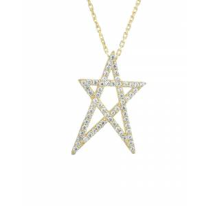 Sphera Milano 18K Gold Over Silver CZ Cut Out Star Necklace