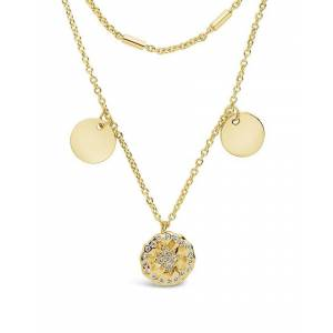 Sterling Forever 14K Plated CZ Charm Necklace