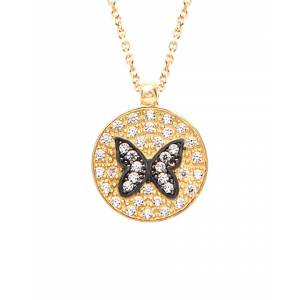 Gabi Rielle 22K Over Silver CZ Butterfly Necklace