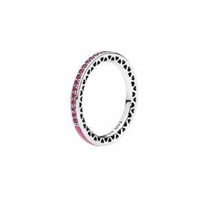 PANDORA Silver & Cerise Pink Crystal Radiant Hearts Ring - Size: 60