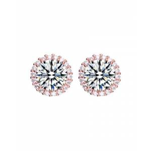 Genevive 14K Rose Gold Over Silver CZ Studs