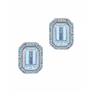 Diana M. Fine Jewelry 14K 27.00 ct. tw. Diamond & Aquamarine Earrings