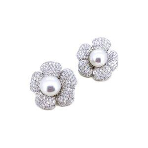 Arthur Marder Fine Jewelry 18K 11.00 ct. tw. Diamond 13mm Pearl Earrings