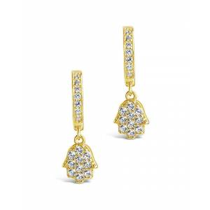 Sterling Forever 14K Over Silver CZ Hamsa Micro Hoops