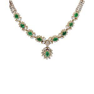 Diana M. Fine Jewelry 14K 8.60 ct. tw. Diamond & Green Emerald Necklace