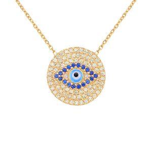 Gabi Rielle 22K Over Silver CZ & Enamel Evil Eye Necklace