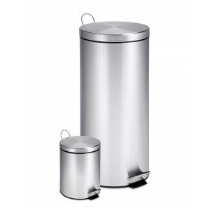 honey can do Honey-Can-Do Set of 2 Stainless Steel Step Trash Cans