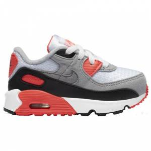 Nike Boys Nike Air Max 90 - Boys' Toddler Running Shoes White/Red/Gray Size 07.0