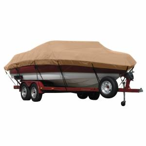 Covermate Exact Fit Covermate Sunbrella Boat Cover for Vip Bay Stealth 1730 Bay Stealth 1730 W/Troll Mtr O/B. Beige
