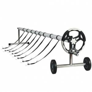 Costway 18 ft Pool Cover Reel Set with Hand Crank and Wheels