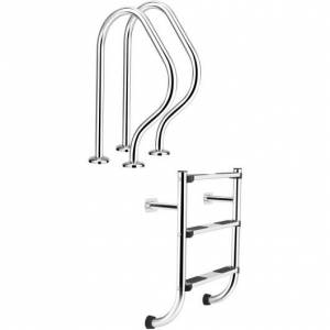 Costway Split Swimming Pool Ladder Stainless Steel 3-Step Ladder and 2 Handrails