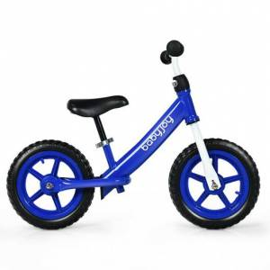 """Costway 12"""" Kids Balance No-Pedal Ride Pre Learn Bike with Adjustable Seat-Blue"""