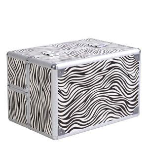 "Costway 14"" x 9"" x 10"" Aluminum Makeup Case Cosmetic Organizer-Zebra"
