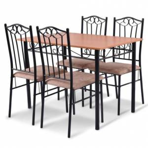 Costway 5 pcs Dining Set Wooden Table and 4 Cushioned Chairs