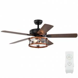 """Costway 52"""" Retro Ceiling Fan Lamp with Glass Shade Reversible Blade Remote Control"""