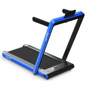 Costway 2-in-1 Electric Motorized Health and Fitness Folding Treadmill with Dual Display and Bluetooth Speaker-Blue