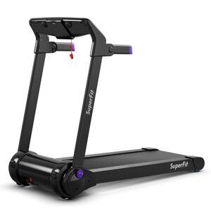 Costway 3HP Folding Electric Treadmill Running Machine with Bluetooth Speaker-Purple